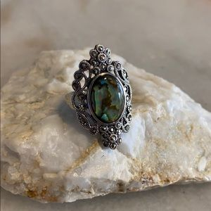 Jewelry - Sterling Silver Abalone Cocktail Ring